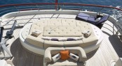Sunpads and massage water bed on the upper deck aft of motor yacht DENIKI
