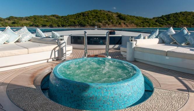 Super yacht Solandge - Spa Pool at owners deck - Photo by Klaud Jordan