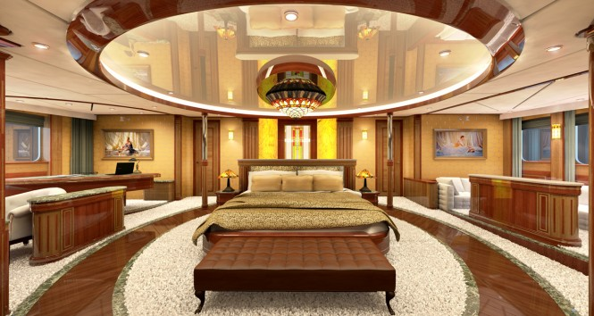 Superyacht LEGEND - Master suite rendering