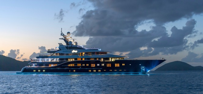 Superyacht Solandge after sunset - Photo by Klaus Jordan
