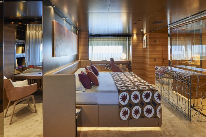 The Master suite aboard superyacht TAKARA