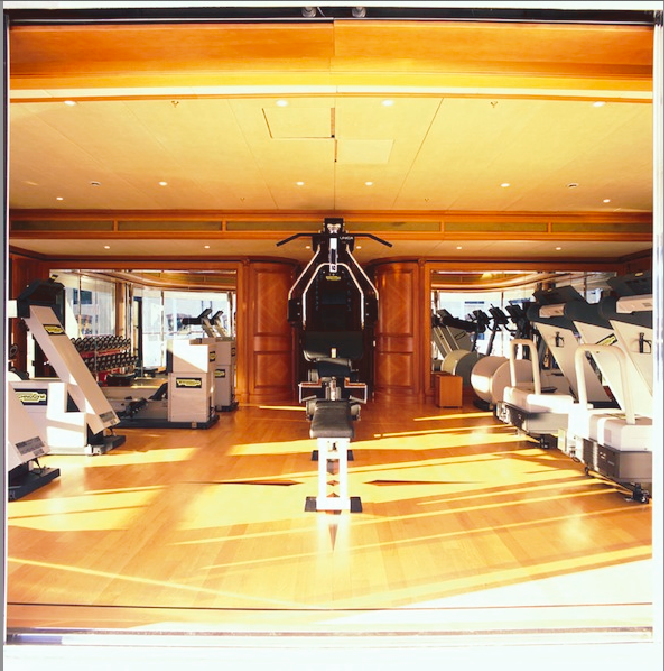 The gym aboard luxury yacht FREEDOM