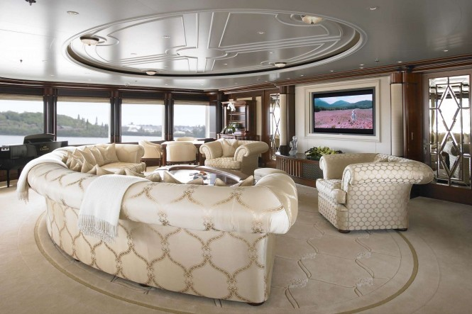 The skylounge and cinema aboard M/Y ANNA - Photo credit Feadship