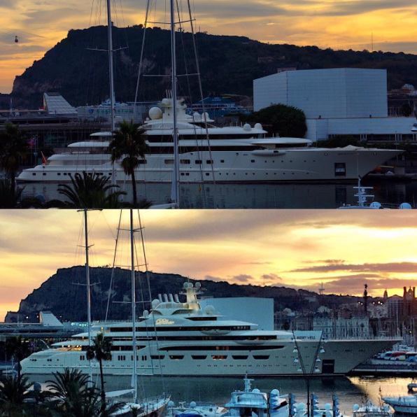 Dilbar in Port Vell, Barcelona, Spain. Photo credit yachts_in_bcn