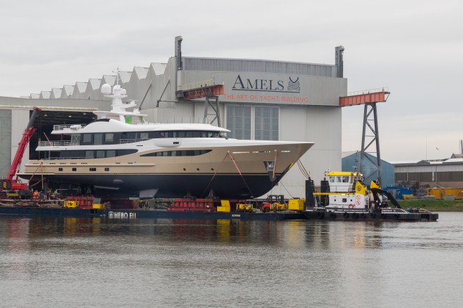 AMELS 180 'LILI' preparing for launch at the Netherlands shipyard