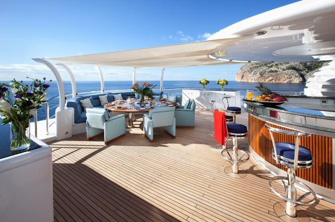 Amazing al fresco dining possibilities on SYCARA V - Photo credit Nobiskrug