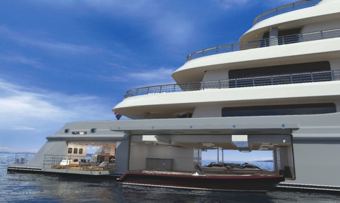 Beach club and tender garage concept for limited edition superyacht HERE COMES THE SUN