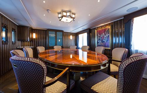 Formal dining aboard luxury yacht MALAHNE
