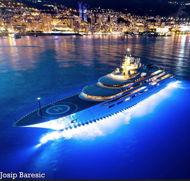 Front view of Dilbar at night in Monaco. Photo credit @j_b_photography__