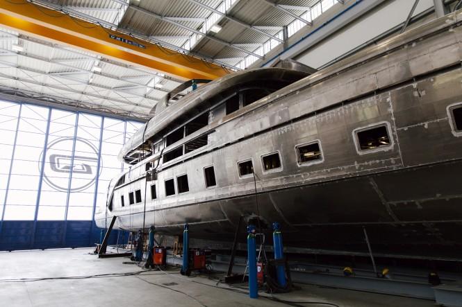 GTT 115 at Dynamiq's shipyard, Viareggio