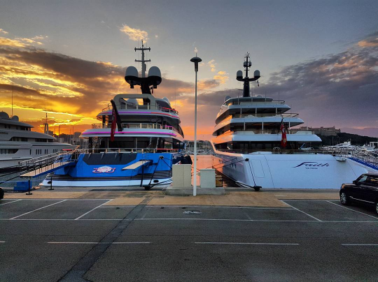 Madame gu 99m and faith 96m in Antibes both built by feadship. Photo credit @kyleloubser