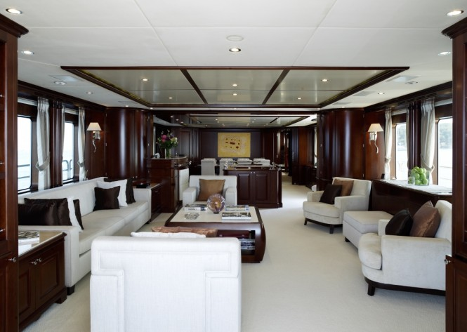 Main salon and dining area aboard superyacht RED ANCHOR