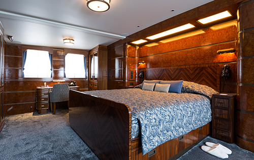 Master suite aboard superyacht MALAHNE
