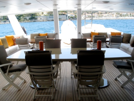 Motor yacht COSTA MAGNA - Alfresco dining on the upper deck aft