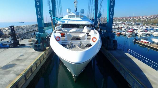 Motor yacht Dusur undergoing refit at Bilgin shipyard