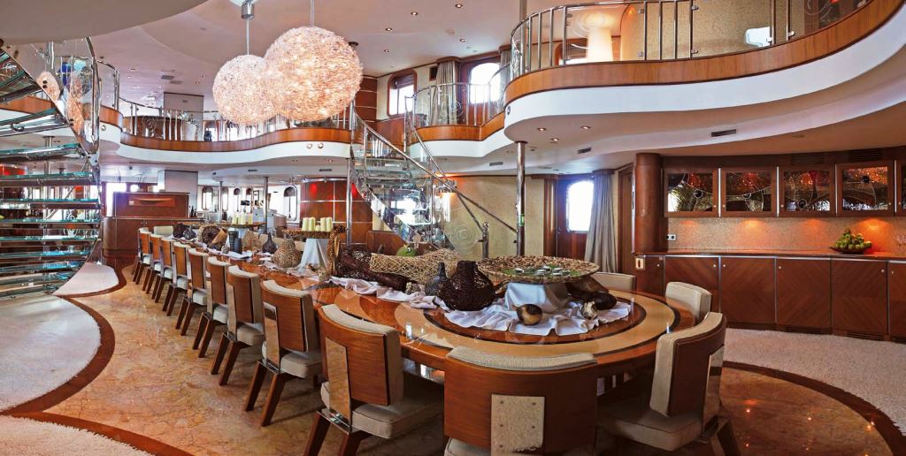 Motor yacht sherakhan formal dining area yacht charter for Formal dining area
