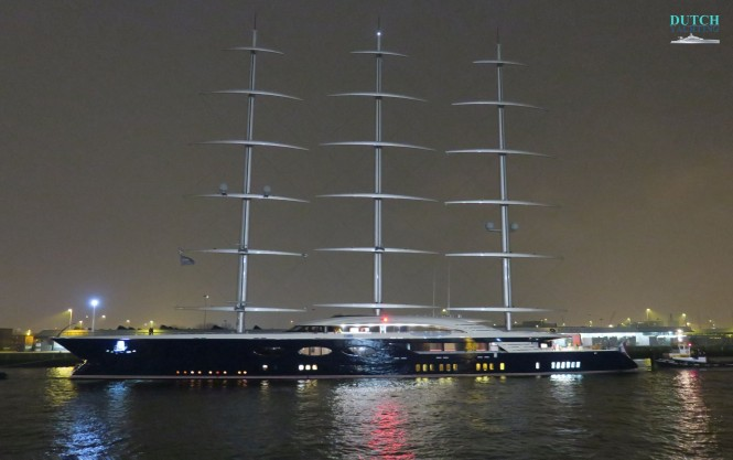 Oceanco's 106m: 347.77ft Y712 returning in Rotterdam after her second day of sea trials. Photo- ©Dutch Yachting