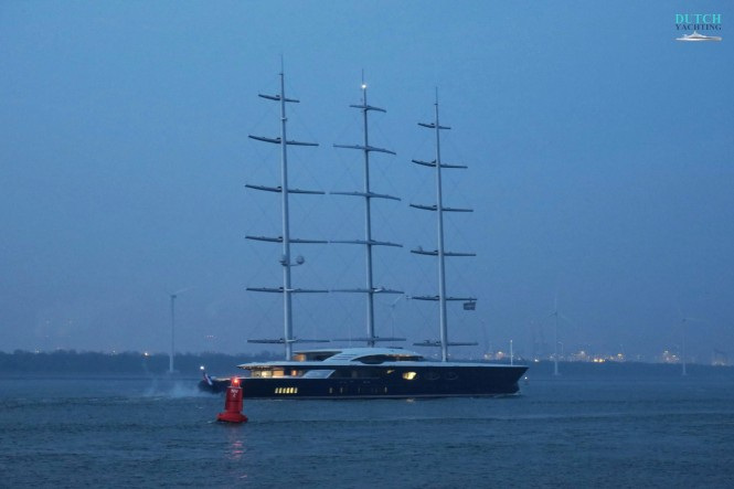 Oceanco's 106m: 347.77ft Y712 while heading to the North Sea for her third day of sea trials. Photo- ©Dutch Yachting