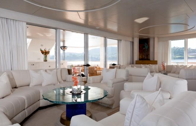 Skylounge aboard Lurssen luxury yacht CORAL OCEAN. Photo credit: Jeff Brown