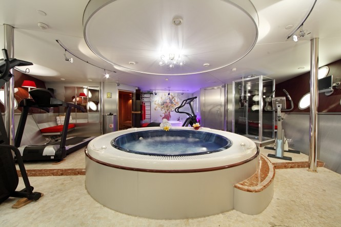 Spa and gym aboard luxury yacht SHERAKHAN