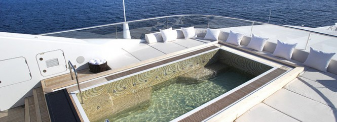 Spa pool and sun pads aboard motor yacht VICKY