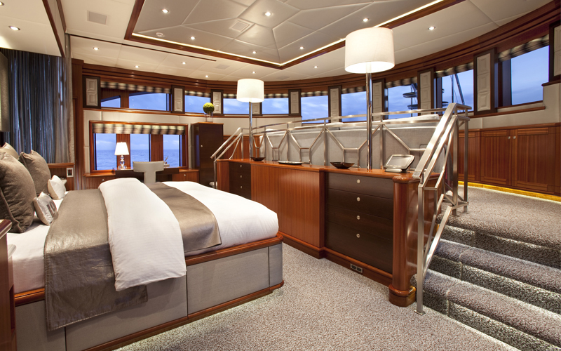 superyacht rockstar split level master suite