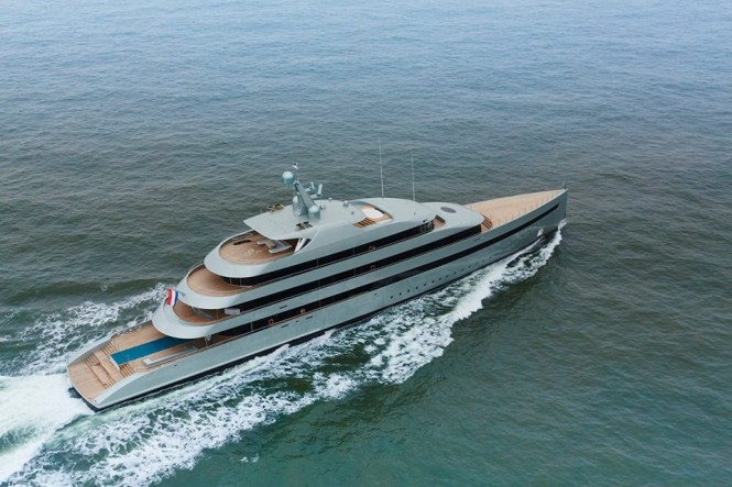Superyacht Savannah from above. Photo credit Feadship
