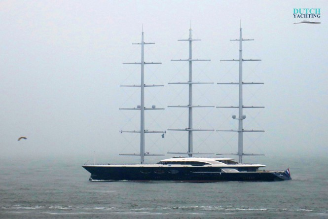 The 106m sailing yacht Black Pearl left Rotterdam on a cold and misty morning for a shakedown cruise on the North Sea. Photo- ©Dutch Yachting
