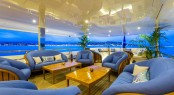 The outdoor lounge on the main deck aft aboard motor yacht SEANNA