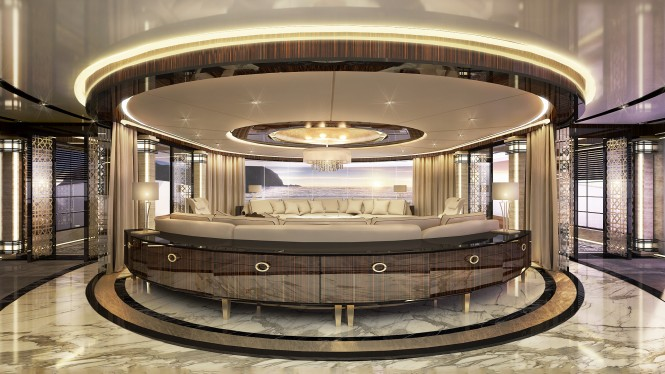 Ultra-luxurious interior spaces aboard the 80m ERA by Ricky Smith Designs - Panorama Lounge Main deck aft