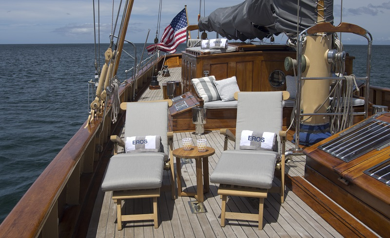 Unwind on the spacious deck of the lovely sailing yacht EROS