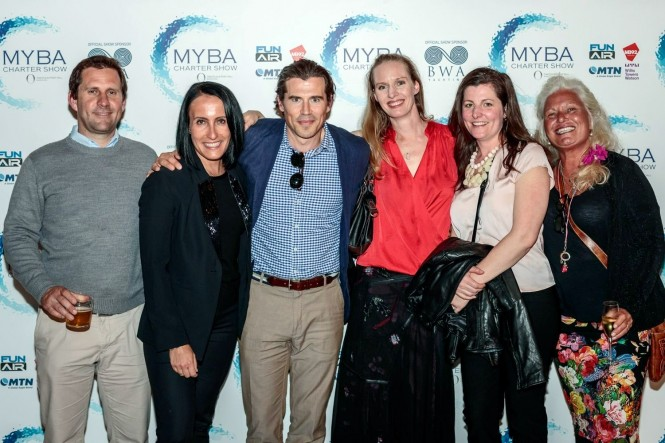 CharterWorld Senior Brokers Nicolas Benazeth, Martha Lukasik, Josh Burdett, Reia Stannard, Trina Howes and Amanda Brilliante attending the MYBA Yacht SHow