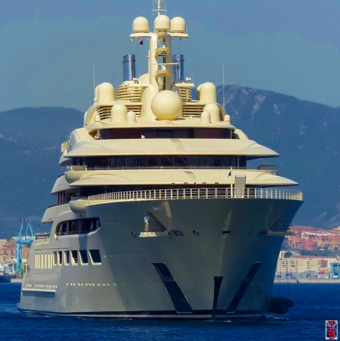 Dilbar. Photo via @superyachts_gibraltar