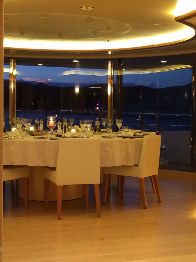 Fine dining aboard luxury charter yacht Blue Vision. Photo credit CharterWorld
