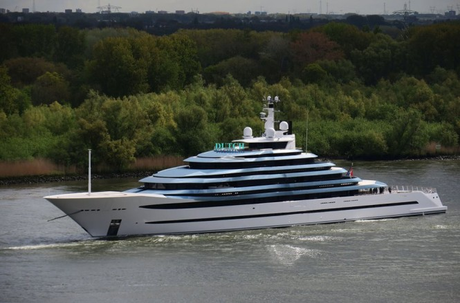 "Holland's largest yacht to date, the 110.1m: 360'11"" Jubilee, left the Oceanco shipyard in Alblasserdam this morning for its first day of sea trials. Photo- © Dutch Yachting & @thenauticallady"