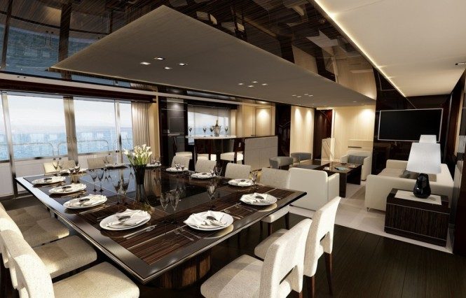 Main salon and formal dining area aboard luxury yacht BLUSH