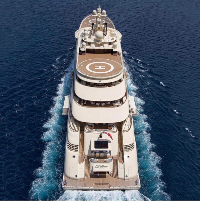 Mega Yacht Dilbar. Photo via @boss_yachting