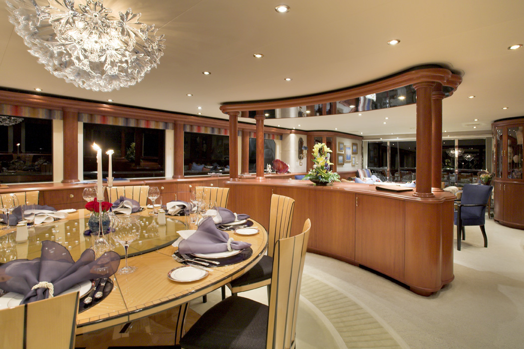 Motor yacht namoh formal dining area and main salon for Formal dining area