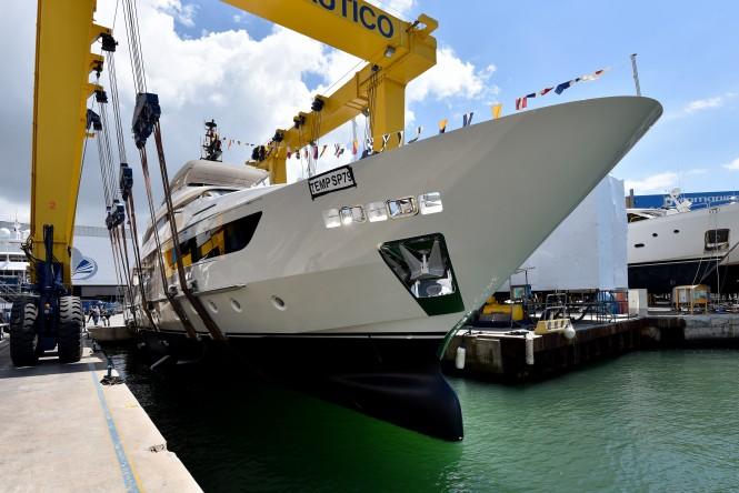 Motor yacht SIM SIM, the 14th SD1226 hull, being launched at Sanlorenzo's Viareggio shipyard