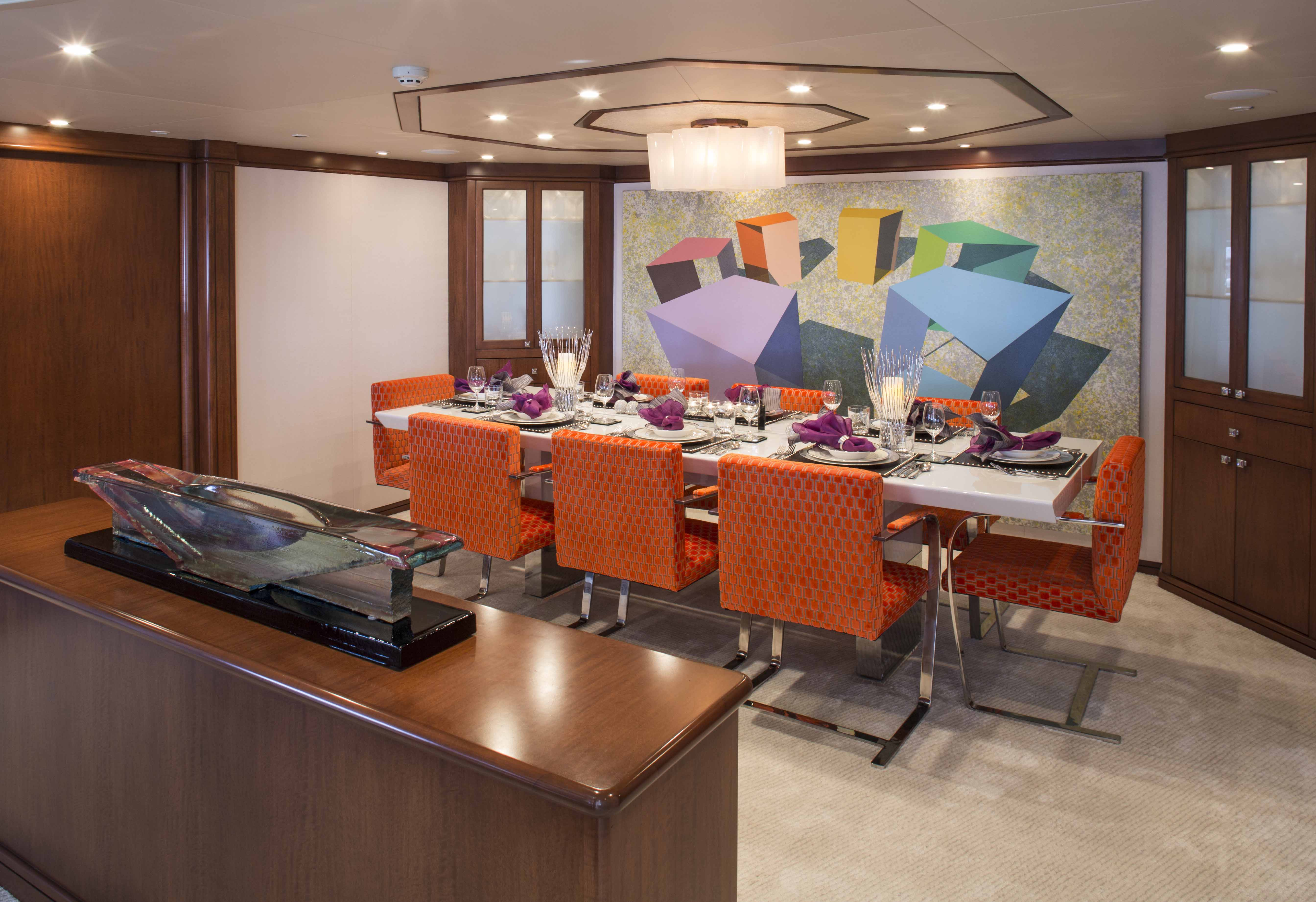 Charter superyacht at last in the caribbean yacht for Formal dining area