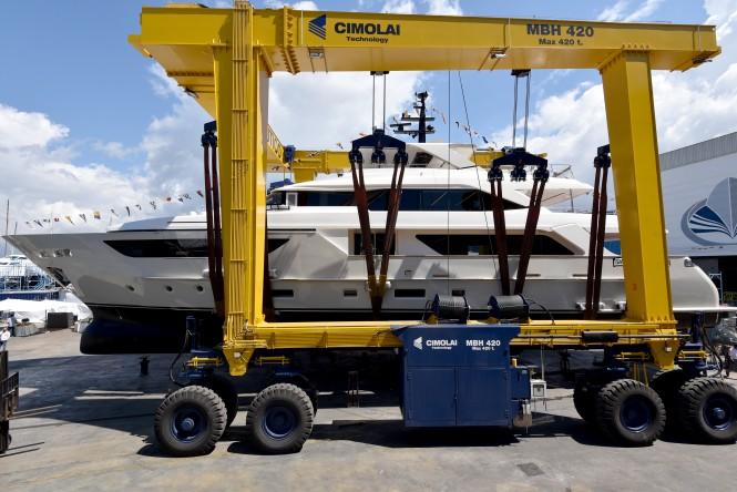 Superyacht SIM SIM preparing for launch. Photo credit Sanlorenzo