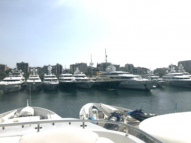 Superyachts in attendance at Port Vell, Barcelona, for the MYBA Yacht Show
