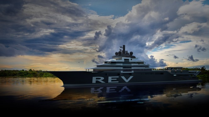 The new 182m Mega Yacht REV designed by Espen Oeino and to be built at VARD. Photo credit VARD shipyard