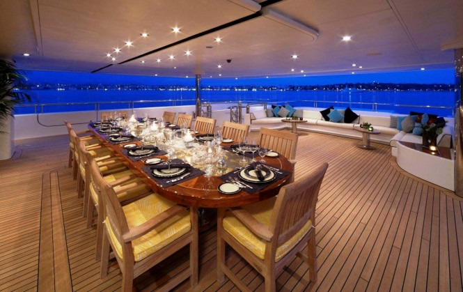 There are plenty of places to dine alfresco aboard superyacht TITANIA