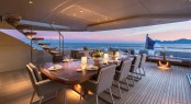 Al fresco dining at sunset aboard VERTIGE yacht