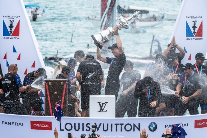 Celebrations for Emirates Team New Zealand after winning the world's oldest international sports trophy - the America's Cup. Photo credit Ricardo Pinto
