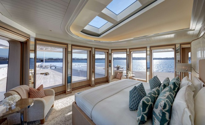Luxury yacht JOY - Master suite. Image credit Feadship