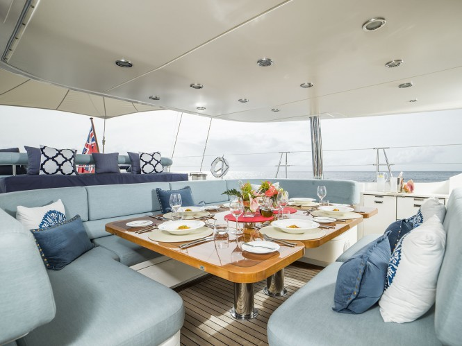 Luxury yacht TWILIGHT - Alfresco dining in the cockpit