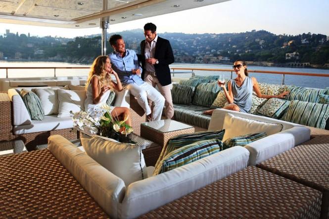 Main deck aft aboard motor yacht HANA