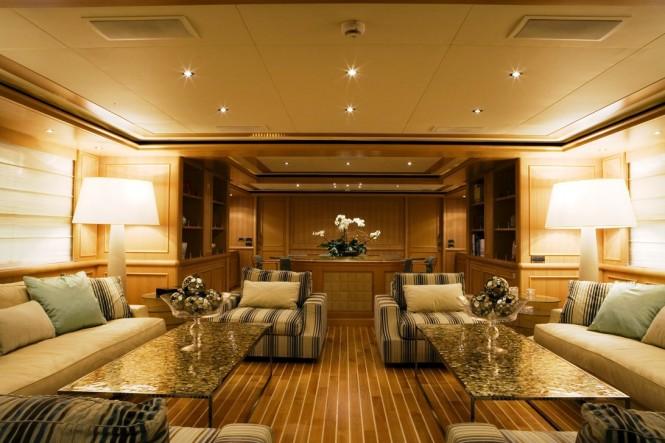 Main salon aboard motor yacht HANA